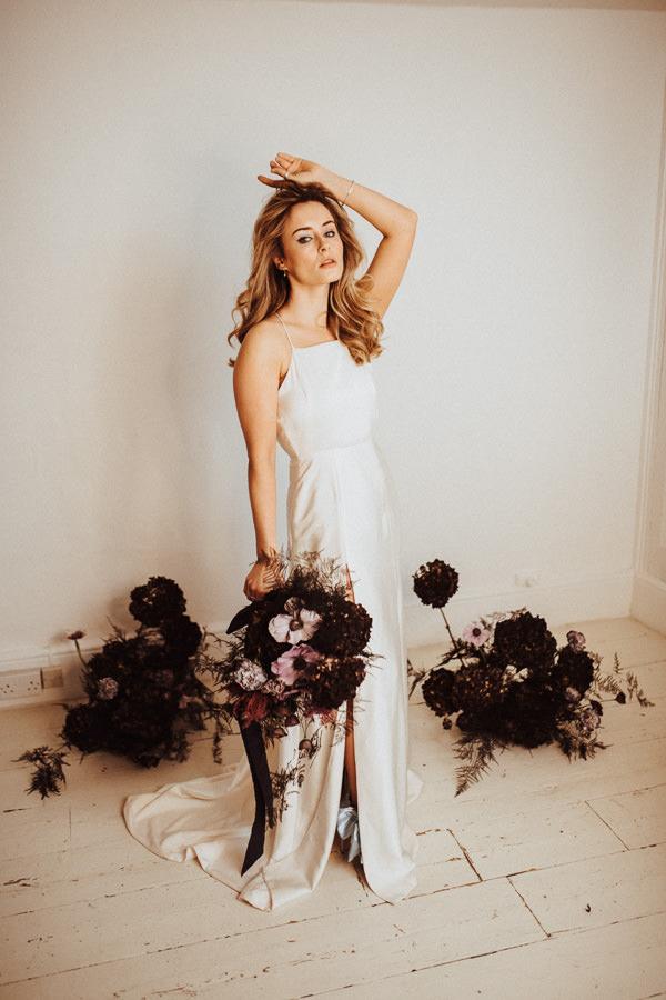 boho bride and purple flowers