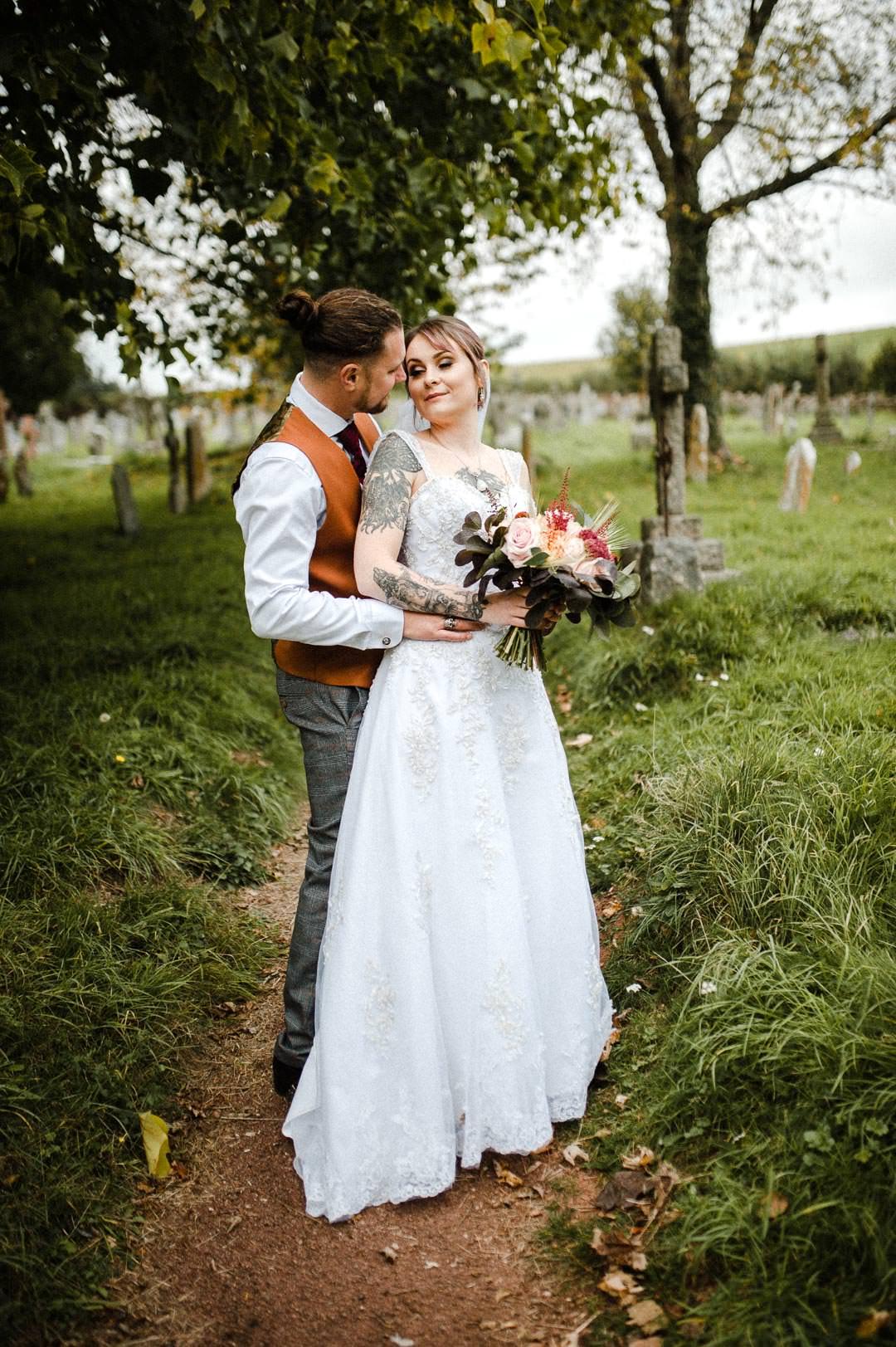 tattooed wedding bride